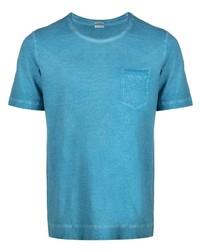 Camiseta con cuello circular en turquesa de Massimo Alba