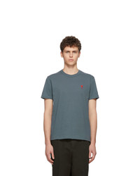 Camiseta con cuello circular en verde azulado de AMI Alexandre Mattiussi