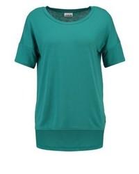 Camiseta con cuello circular en verde azulado de Noisy May