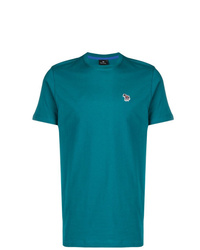 Camiseta con cuello circular en verde azulado de Ps By Paul Smith