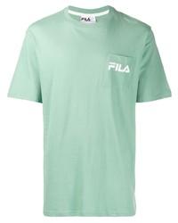 Camiseta con cuello circular en verde menta de Fila