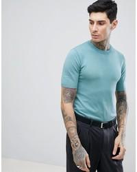 Camiseta con cuello circular en verde menta de Gianni Feraud