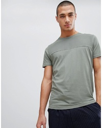 Camiseta con cuello circular en verde menta de Selected Homme