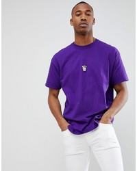 Camiseta con cuello circular en violeta