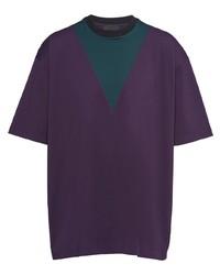 Camiseta con cuello circular en zig zag en violeta de Prada