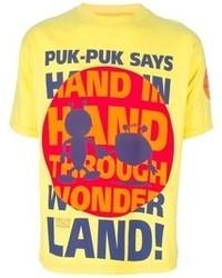 Camiseta con cuello circular estampada amarilla