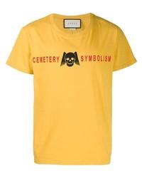 Camiseta con cuello circular estampada amarilla de Gucci