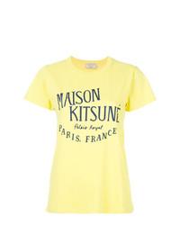 Camiseta con cuello circular estampada amarilla de MAISON KITSUNE
