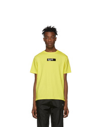 Camiseta con cuello circular estampada amarilla de Moncler Genius