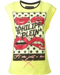 Camiseta con cuello circular estampada amarilla de Philipp Plein
