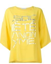 Camiseta con cuello circular estampada amarilla de Societe Anonyme