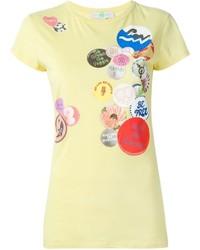 Camiseta con cuello circular estampada amarilla de Stella McCartney