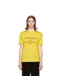 Camiseta con cuello circular estampada amarilla de Versace