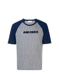 Camiseta con cuello circular estampada azul marino de AMI Alexandre Mattiussi