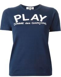 Camiseta con cuello circular estampada azul marino de Comme des Garcons