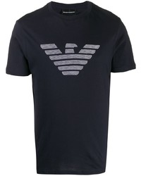 Camiseta con cuello circular estampada azul marino de Emporio Armani