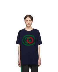 Camiseta con cuello circular estampada azul marino de Gucci