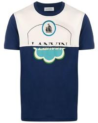 Camiseta con cuello circular estampada azul marino de Lanvin