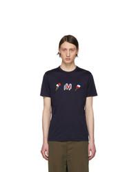 Camiseta con cuello circular estampada azul marino de Moncler