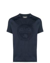 Camiseta con cuello circular estampada azul marino de Napapijri