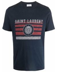 Camiseta con cuello circular estampada azul marino de Saint Laurent