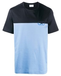 Camiseta con cuello circular estampada azul marino de Salvatore Ferragamo