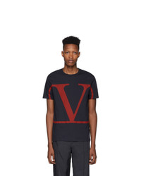 Camiseta con cuello circular estampada azul marino de Valentino