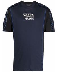 Camiseta con cuello circular estampada azul marino de Versace