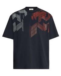 Camiseta con cuello circular estampada azul marino de Z Zegna