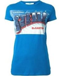 Camiseta con cuello circular estampada azul