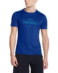Camiseta con cuello circular estampada azul de Asics