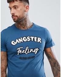 Camiseta con cuello circular estampada azul de BLEND