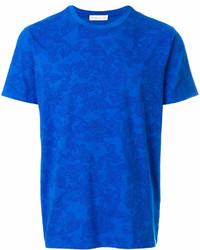 Camiseta con cuello circular estampada azul de Etro