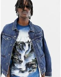 Camiseta con cuello circular estampada azul de G Star