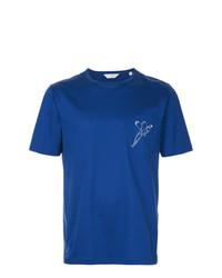 Camiseta con cuello circular estampada azul de Gieves & Hawkes