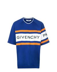 Camiseta con cuello circular estampada azul de Givenchy