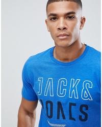 Camiseta con cuello circular estampada azul de Jack & Jones