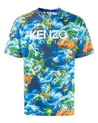 Camiseta con cuello circular estampada azul de Kenzo