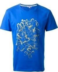 Camiseta con cuello circular estampada azul de Kitsune
