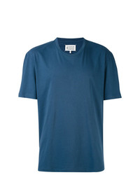 Camiseta con cuello circular estampada azul de Maison Margiela