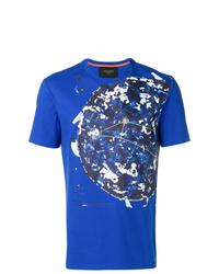Camiseta con cuello circular estampada azul de Mr & Mrs Italy