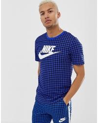 Camiseta con cuello circular estampada azul de Nike