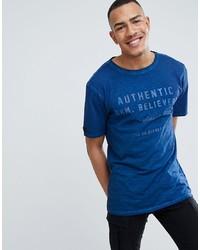 Camiseta con cuello circular estampada azul de replika