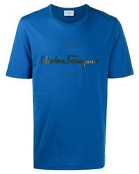 Camiseta con cuello circular estampada azul de Salvatore Ferragamo