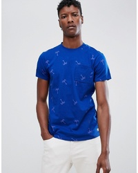 Camiseta con cuello circular estampada azul de Scotch & Soda