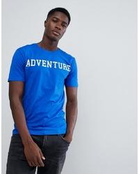 Camiseta con cuello circular estampada azul de troy
