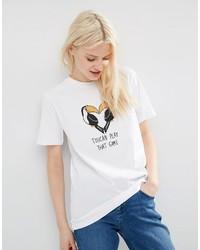 Camiseta con cuello circular estampada blanca de Asos