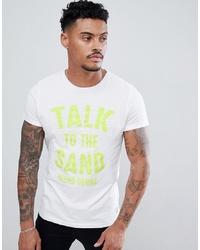 Camiseta con cuello circular estampada blanca de BLEND