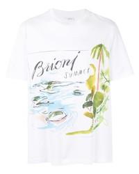 Camiseta con cuello circular estampada blanca de Brioni