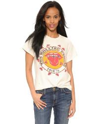 Camiseta con cuello circular estampada blanca